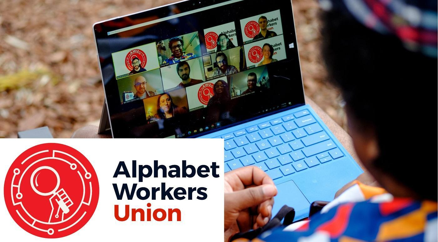 Image of Alphabet Workers Union members on a zoom call with the Alphabet Workers Union logo
